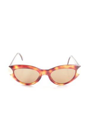 Fielmann ovale Sonnenbrille braun-hellorange Allover-Druck Business-Look