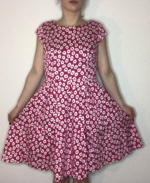 kew 159 Petticoat Dress magenta-raspberry-red cotton