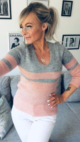 ⋙•-•-•-•➤ Figurbetonter, neuer Strickpullover Pulli mit Streifen Blogger Sweater Puderfarbe Blog Streifen Stripes 34-38 ◉