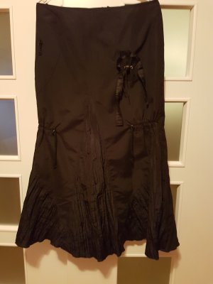 Falda asimétrica negro tejido mezclado