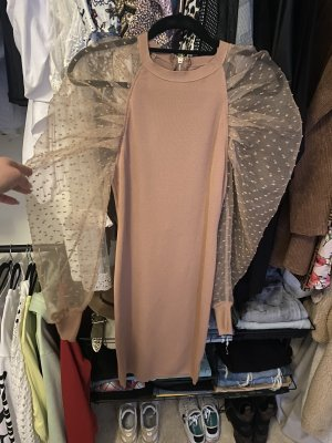 Missguided Sukienka z rękawem balonowym camel