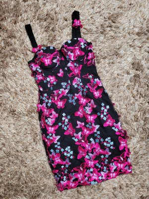 Guess Mini vestido negro-rosa