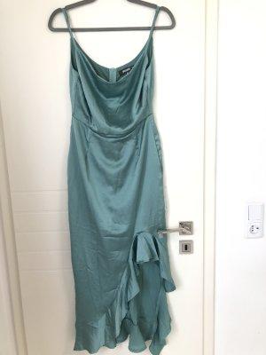 Figurbetontes Midikleid Grün Blau Turkis Rüschen Schlitz