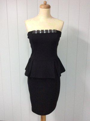 Mango Sukienka z baskinką czarny Tkanina z mieszanych włókien
