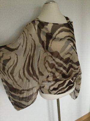 Figurschmeichler: Transparente, tolle Seidenbluse mit Zebra-Muster in Braun-Beige von Max Mara - wie neu