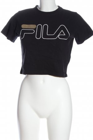 Fila Cropped Shirt black printed lettering casual look