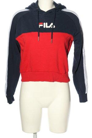 Fila Kapuzensweatshirt blau-rot Schriftzug gedruckt Casual-Look