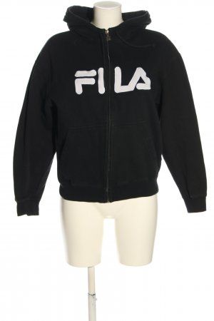 Fila Kapuzensweatshirt schwarz-weiß Schriftzug gedruckt Casual-Look