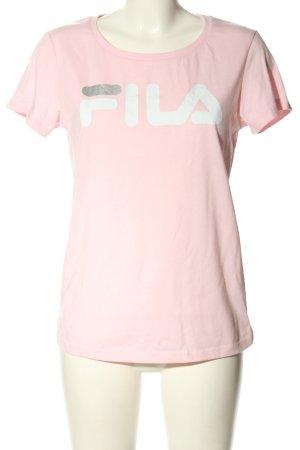 Fila Print-Shirt pink-weiß Schriftzug gedruckt Casual-Look