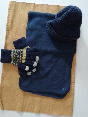 Fila Bufanda de lana azul-azul oscuro