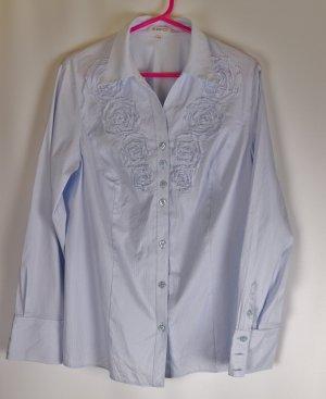 Filigran Langarm Bluse Erfo Größe 42 Hellblau Weiß Streifen Rüschen Drapierung Business