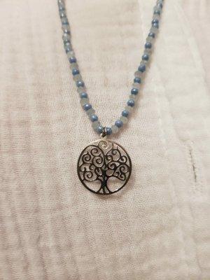aus Italien Statement Necklace white-light blue