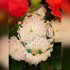 hand gemacht Bransoletki z perłami złoto-leśna zieleń
