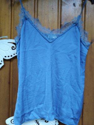 filigranes Top / Shirt H&M Gr 42 44 rauchblau satin-Optik spitze
