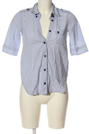 Filippa K Camisa de manga corta azul-blanco estampado a rayas look casual