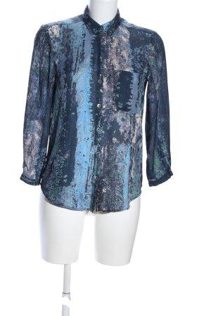 Filippa K Langarm-Bluse blau abstraktes Muster Casual-Look