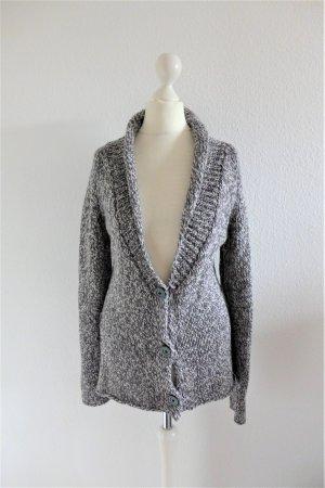 Filippa K Long Wolle Strickjacke grau weiß meliert Gr. XS 34/36