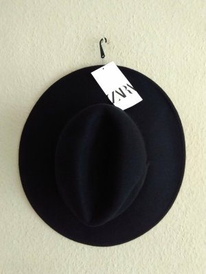 Zara Sombrero de fieltro negro Lana