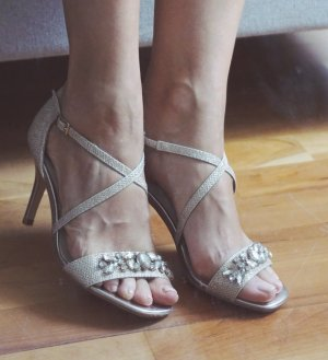 FINAL SALE! High Heels gold glitzer glamour Hochzeit Steine Sandaletten 37 NEU