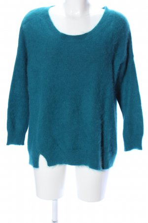 Fine Coliection Pull en laine bleu style décontracté