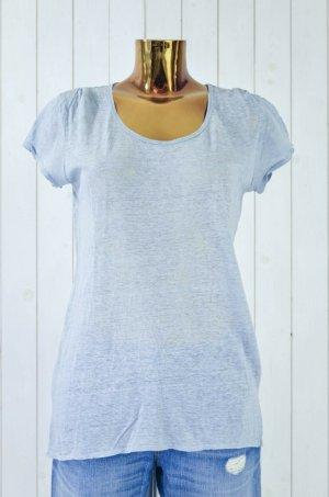 Fine Collection T-Shirt Rundhals Kurzarm Grau-Blau Leinen Gr.XS-S