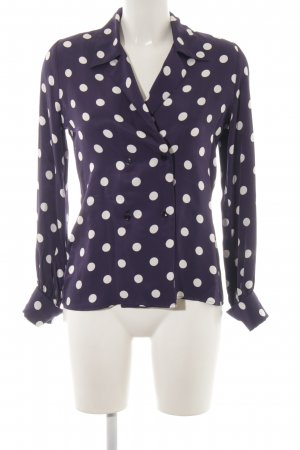 Finery Glanzbluse dunkelblau-weiß Punktemuster Casual-Look