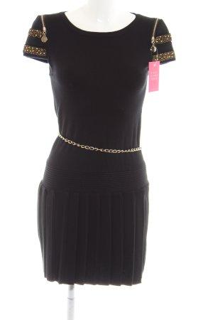 Finery Strickkleid schwarz-goldfarben extravaganter Stil