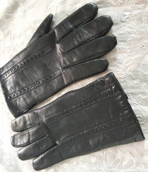 Vingerandschoenen zwart Leer