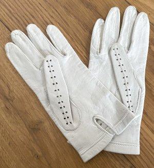 Rękawiczki w kolorze białej wełny Skóra