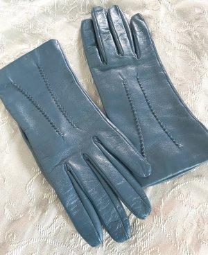 Rękawiczki skórzane petrol Skóra