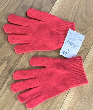 Gant à doigts rouge-blanc cassé tissu mixte