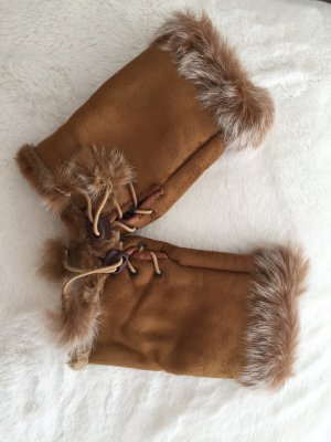Fingerless Gloves cognac-coloured-cream