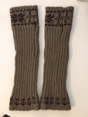 Fingerless Gloves green grey-dark brown