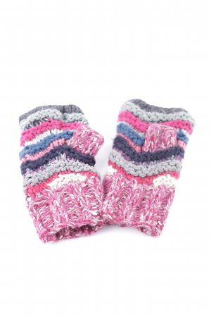 Accessorize Fingerless Gloves pink-light grey striped pattern casual look