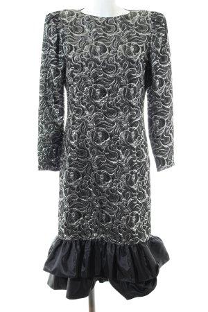 Fink Modell Abendkleid silberfarben-schwarz Allover-Druck Elegant