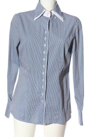 Fior da Liso Langarmhemd weiß-blau Allover-Druck Casual-Look