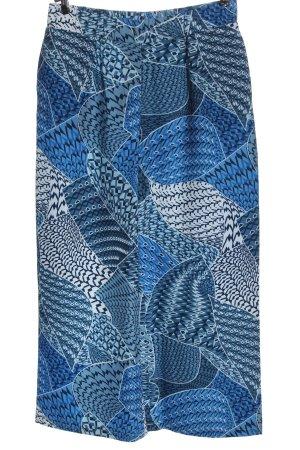 fiora blue Pantalon «Baggy» bleu-blanc motif abstrait style décontracté