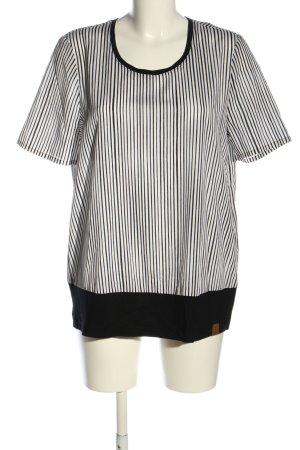 fiora blue Kurzarm-Bluse schwarz-weiß Streifenmuster Casual-Look