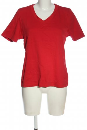 fiora blue T-shirt col en V rouge style décontracté