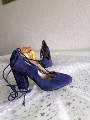 Fiore Tacones con cordones azul Cuero