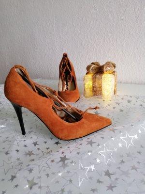 Fiore Tacones con cordones naranja oscuro Cuero