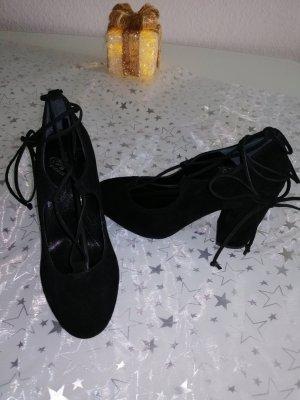 Fiore Tacones con cordones negro Cuero