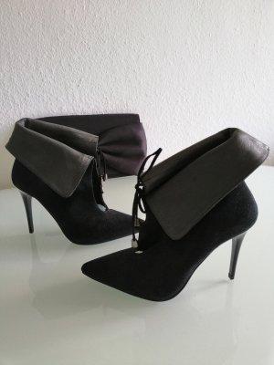 Fiore Italy Damen Echt Leder Stiefeletten schwarz Gr. 39