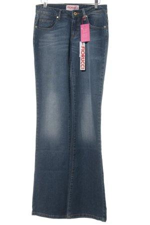 Fiorucci Jeans a zampa d'elefante blu acciaio stile casual