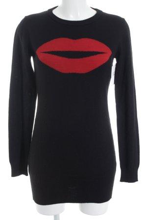 Fiorucci Longpullover schwarz-rot Motivdruck Casual-Look