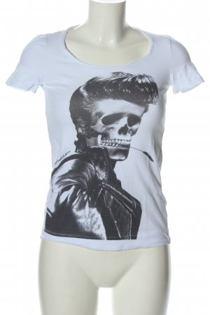 Fiorucci Print-Shirt weiß-schwarz Motivdruck Casual-Look
