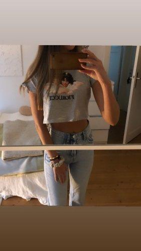 Fiorucci T-Shirt Print Motiv Crop Kurz Grau Jades Mytheresa