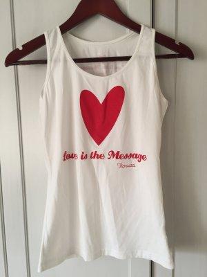 Fiorucci T-Shirt/Top mit Schriftzug / Aufdruck / Herz Gr. S
