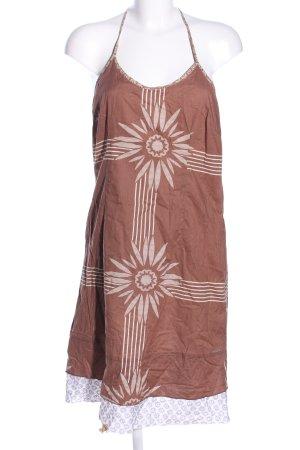 Firetrap Vestido de cuello Halter marrón-blanco puro estampado floral