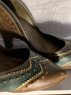 Firetrap pumps Leder vintage look braun grün Nieten Bronze cooler Absatz und schnitt 41